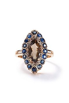Sapphire and Smoky Quartz Marquis Ring in 14k Rose Gold - anthropologie.com - I can dream...
