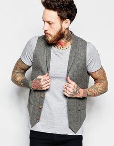 Image 1 ofASOS Slim Waistcoat In Grey Herringbone With Shawl Collar