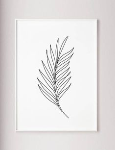 Palm Leaf Print Plants line art Abstract wall print