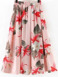 Shop Pink Elastic Waist Flowers Print Flare Skirt online. SheIn offers Pink Elastic Waist Flowers Print Flare Skirt & more to fit your fashionable needs.
