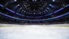 empty ice rink arena inside view illuminated by spotlights, hockey and skating stadium indoor render illustration background, my own design Stock Photo , Ice Rink, Spotlights, Place Mats, Skating, Empty, Hockey, Indoor, Stock Photos, 3d
