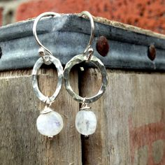 Fine Silver Hammered Hoops with Moonstone by jenjems on Etsy, $28.00