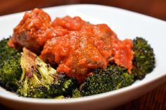 Roasted Broccoli & Meatballs topped with Rao's Marinara......Paleo Eats: 3/22/12 | Award-Winning Paleo Recipes | Nom Nom Paleo