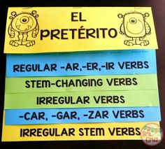 The preterite can be a monster to conjugate, but this can help! This flip book for all preterite conjugations has notes and conjugation practice for each type of preterite verb. Spanish Grammar, Spanish Teacher, Spanish Classroom, Spanish Language, German Language, Japanese Language, French Language, Classroom Ideas, Spanish Teaching Resources