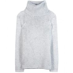 Helmut Lang Chunky-Knit Turtleneck Sweater ($275) ❤ liked on Polyvore featuring tops, sweaters, jumper, helmut lang, knit, light grey, polo neck sweater, knit tops, knit turtleneck and turtle neck tops