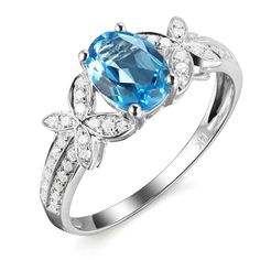 Cyber Monday Black Friday Sale 2015 Prime Deals Elegant Genuine Natural London Topaz Gemstone Prong Diamond Wedding Engagement Promise for Women Ring Set *** Quickly view this special  product, click the image : Promise Rings