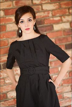 Modest Black Belted Dress with Half Sleeves $59.99 www.jenclothing.c...