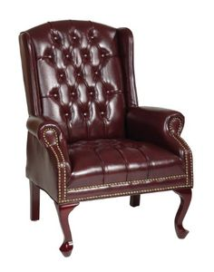 Office Star Traditional Queen Anne Style Vinyl Chair, Jamestown