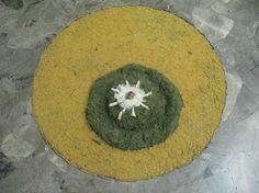 Ciculo en amarillo verde y blanco con un toque de marron