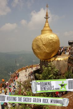 Visiting the Myanmar Golden Rock temple that hangs precariously on the edge of a cliff on the first day of the amazing water festival!