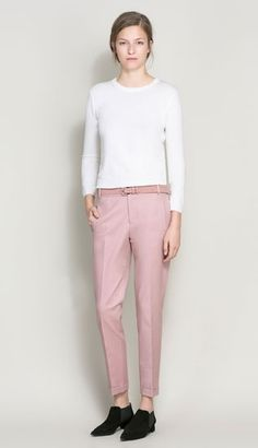 Cropped blush trousers. http://www.vogue.in/content/autumnwinter-2013-trend-pretty-pink#5