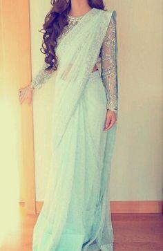 She is sooo beautiful love her light blue sari looks sooo beautiful and amazing on her my favourite. She is sooo beautiful love her light blue sari looks sooo beautiful and amazing on her my favourite. Pakistani Outfits, Indian Outfits, Sari Dress, Elegant Saree, Churidar, Salwar Kameez, Mode Hijab, Indian Attire, Saree Styles
