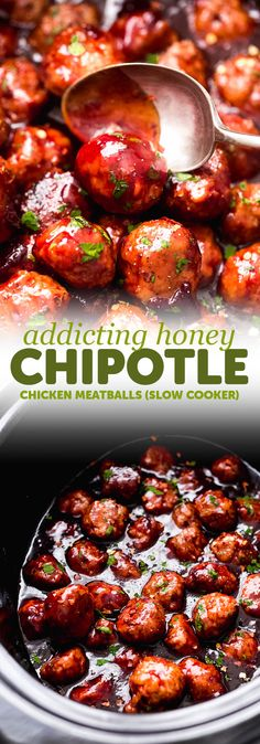 Slow Cooker Honey Chipotle Meatballs - the perfect football food! - Slow Cooker Honey Chipotle Meatballs – the perfect football food! These meatballs are made with t - Honey Chipotle Sauce, Chipotle Recipes, Slow Cooking, Meatball Recipes, Chicken Recipes, Meatball Appetizers, Super Bowl Essen, Crockpot Recipes, Clean Eating Snacks