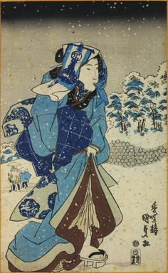 Utagawa Kunisada, Colour woodblock print depicting a girl in a snowy landscape, c. 1830 - 1834, National Museums Scotland