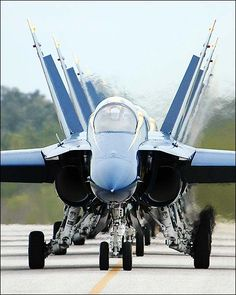 U.S. Navy Blue Angels Taxi into Flight Line