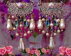 Victorian+Filigree+Chandelier+Earrings+Pearl+and+Emerald+by+kerala,+$38.00