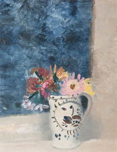 "alongtimealone: ""Winifred Nicholson; Flowers; Girton College, University of Cambridge; oil on canvas; 79.5 x 39 cm """