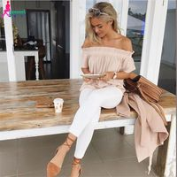 Gagaopt 2016 Sexy Slash Neck Ruffles Women Tops Tees Off Shoulder Beach Summer Style Tops Women Blouses Shirt Party Tube Top