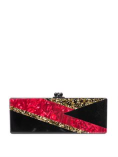 Edie Parker's Flavia Ziggy box clutch is inspired by David Bowie's iconic Aladdin Sane album cover. This acrylic style seals shut with a hinged top clasp – perfect for a quick make-up check in its internal mirrored panel.