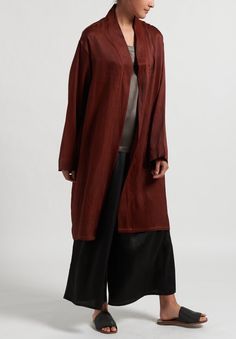 Noir Handmade Mud Silk Kimono in Rust Red | Santa Fe Dry Goods . Workshop . Wild Life Santa Fe Dry Goods, Santa Fe Trail, Pocket Light, Global Brands, Silk Kimono, Donna Karan, Silk Fabric, Chic Outfits, Mud
