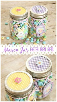 10 Cute Easter Treats In A Jar - Make these cute Easter Treats In a Jar in no time. These are great for gifts or adding to Easter baskets! Mason jar crafts, Easter basket ideas, DIY Easter Treats, DIY gift ideas for Easter, Easter crafts Pot Mason Diy, Mason Jars, Mason Jar Gifts, Pots Mason, Hoppy Easter, Easter Gift, Easter Bunny, Easter Party, Easter Eggs