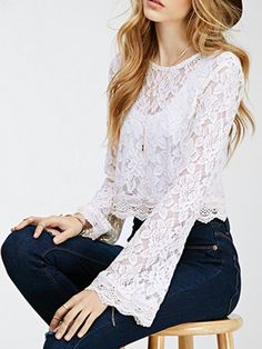 Choies Women's White Round Neck Sheer Lace Flare Sleeve Crop Blouse S Look Fashion, Fashion Outfits, Womens Fashion, Girls Crop Tops, Crop Blouse, Blouse Styles, Lace Tops, White Lace, Clothes For Women