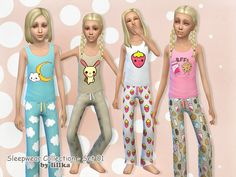 This 2 part set includes top and bottom for girls  Found in TSR Category 'Sims 4 Female Clothing Sets'