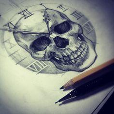 Skull Clock - Drawing - Pencil Sketch