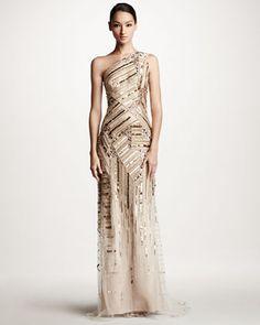 Carolina Herrera: Embroidered One-Shoulder Gown