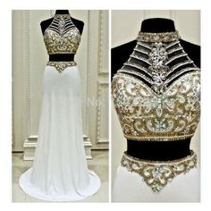 Fashionable Two Pieces Prom Dress,H.. ❤ liked on Polyvore featuring dresses, prom dresses, two piece prom dresses, 2 piece prom dresses, two piece dresses and 2 piece dress