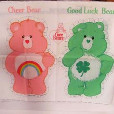 Vintage Cheer Bear and Good Luck Bear Fabric Doll Panels by NewAgain on Etsy