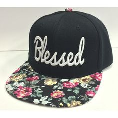 """Flat Bill Snapback Cap Hat """"BLESSED"""" Hip Hop Two Tone Black/Pink... (€21) ❤ liked on Polyvore featuring accessories, hats, yellow hat, snapback cap, snap back hats, flat cap and snapback hats"""