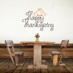 Happy Thanksgiving wall decal fall wall decal by ValdonImages #holidaydecor #holidayparty