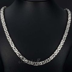 Silver Flat Byzantine Stainless Steel Necklace Boys Men's Chain  Size: 6 mm, 18-36 inch Length Optional