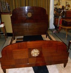 Beautiful Mahogany Art Deco Bed with Marquetry from the 1920s | From a unique…