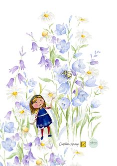 I am so excited to share this collaboration with Cristina Kramp at cristinakramp.com or on Instagram @cristinakramp. She painted this little cute girl and I could place her into my meadow flowers; bluebells and daisies. Isn`t it lovely and enchanting? Watercolor Girl, Watercolor Illustration, Floral Watercolor, Meadow Flowers, Daisies, Collaboration, Cute Girls, Disney Characters, Fictional Characters