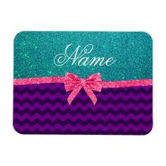 Custom name turquoise glitter purple chevrons bow flexible magnets