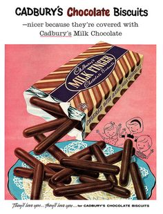 Vintage Advertising : Cadburys Chocolate Milk Finger Biscuits are deliciously addictive! Vintage Sweets, Vintage Candy, Vintage Labels, Vintage Posters, Retro Sweets, Retro Advertising, Retro Ads, Vintage Advertisements, Advertising Signs