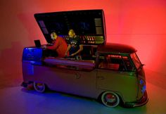 Dj Booth/Bar: a restored 1963 Volkswagen camper van named Lola