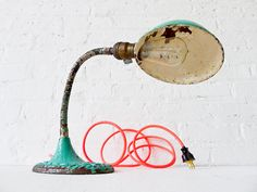 Vintage Gooseneck Desk Lamp w/ Neon Pink Orange by EarthSeaWarrior