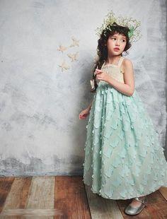 Girl's Vintage Aqua Blue Chiffon Fluttering Butterfly Long Flower Girl Portrait Beach / Rustic Wedding 2016 NEW Dress