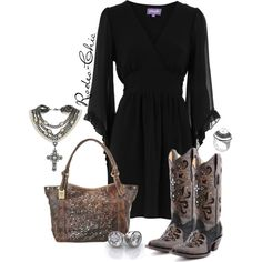"""Southern Cross"" by rodeo-chic on Polyvore; cowboy boots by @corralboots, crosses, frye bag, pearls"