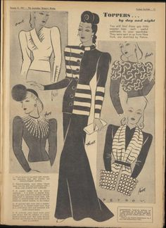 Women's fashion inspiration featuring stunning women's tops and jackets in this fashion design illustration catalog page. 1940s Fashion, Vintage Fashion, Edwardian Fashion, Suit Fashion, Fashion Black, Fashion Shoes, Fashion Illustration Vintage, Fashion Illustrations, Vintage Sewing Patterns