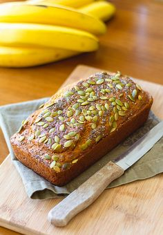 Banana Bread with Chia and Pumpkin Seeds - only a couple tablespoons of sugar - this healthy quick bread is not sickly sweet like rest of them!  And very delicious!