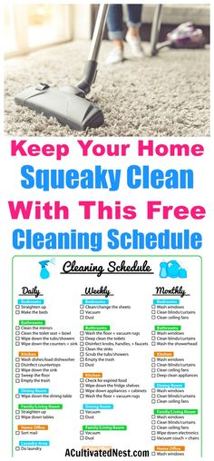 Weekly Cleaning Schedule Printable- FREEGet super organized with this pretty and easy to use cleaning schedule printable. It is a weekly cleaning schedule but also lists daily, biweekly and monthly tasks. Deep Cleaning Tips, House Cleaning Tips, Cleaning Solutions, Cleaning Hacks, Household Cleaning Schedule, Diy Hacks, Spring Cleaning Checklist, Cleaning Routines, Daily Checklist