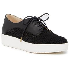 Dr. Scholl's Blake Weave Platform Sneaker ($40) ❤ liked on Polyvore featuring shoes, sneakers, black, black trainers, leather platform sneakers, lace up sneakers, black sneakers and platform shoes