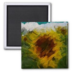 Magnet abstract sunflower multicolored