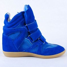 Isabel Marant Bazil Bekket Blue Leather and Suede Wedge Sneakers for Women