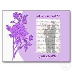 Purple Flower Custom Save The Date Postcard #weddings