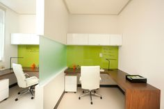 Miami Modern Scandinavian inspired project for a doctor's office located in Aventura, FL Magnetic glass board Color Accents Walnut wood desk top